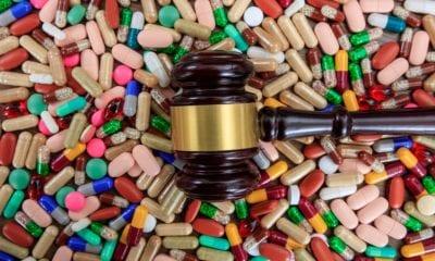 Judge gavel on drugs background